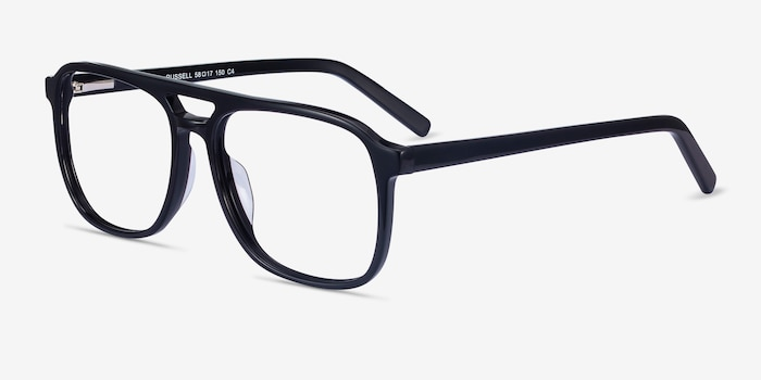 Russell Black Acetate Eyeglass Frames from EyeBuyDirect, Angle View