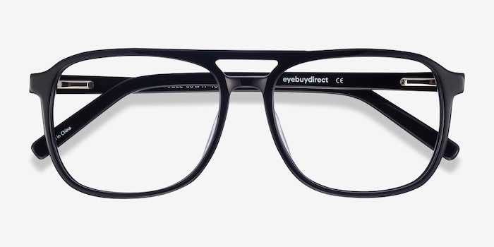 Russell Black Acetate Eyeglass Frames from EyeBuyDirect, Closed View