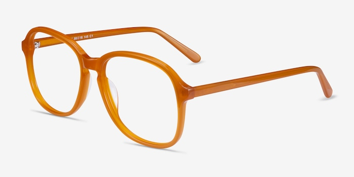 Randy Mellow Yellow Acetate Eyeglass Frames from EyeBuyDirect, Angle View