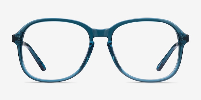 Randy Teal Acetate Eyeglass Frames from EyeBuyDirect, Front View