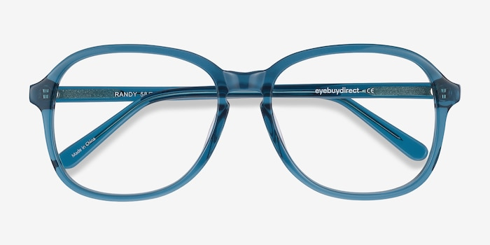 Randy Teal Acetate Eyeglass Frames from EyeBuyDirect, Closed View