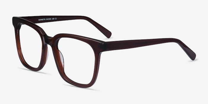 Kenneth Coffee Acetate Eyeglass Frames from EyeBuyDirect, Angle View
