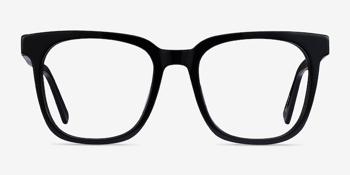 Kenneth Black Acetate Eyeglass Frames from EyeBuyDirect, Front View