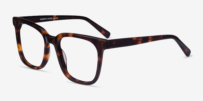 Kenneth Tortoise Acetate Eyeglass Frames from EyeBuyDirect, Angle View