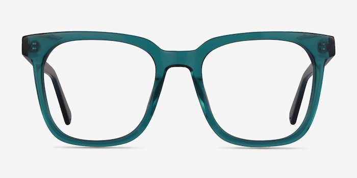 Kenneth Teal Acetate Eyeglass Frames from EyeBuyDirect, Front View