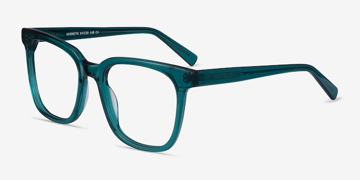 Kenneth Teal Acetate Eyeglass Frames from EyeBuyDirect, Angle View