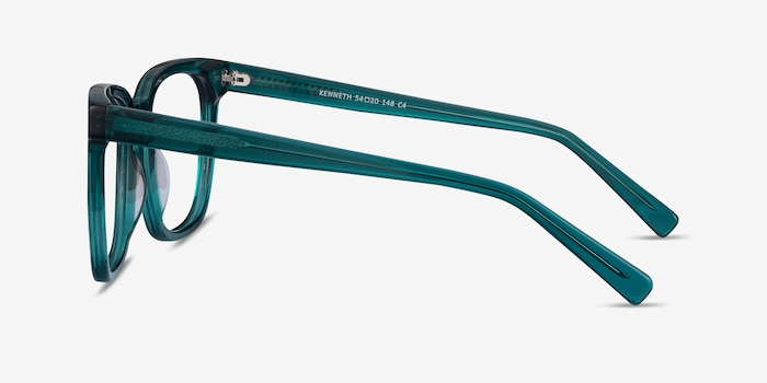 Kenneth Teal Acetate Eyeglass Frames from EyeBuyDirect, Side View