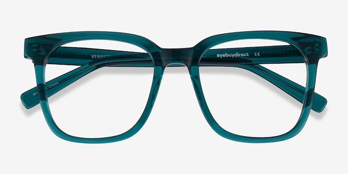 Kenneth Teal Acetate Eyeglass Frames from EyeBuyDirect, Closed View