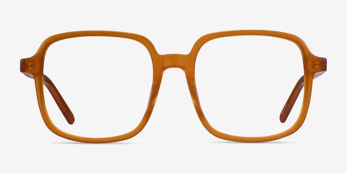 Gaston Mellow Yellow Acetate Eyeglass Frames from EyeBuyDirect, Front View