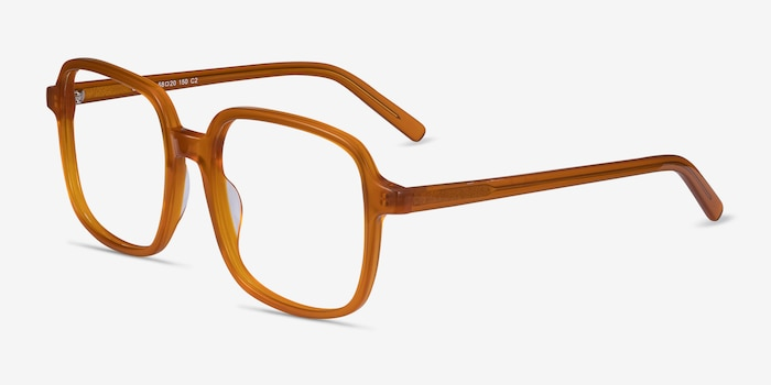Gaston Mellow Yellow Acetate Eyeglass Frames from EyeBuyDirect, Angle View