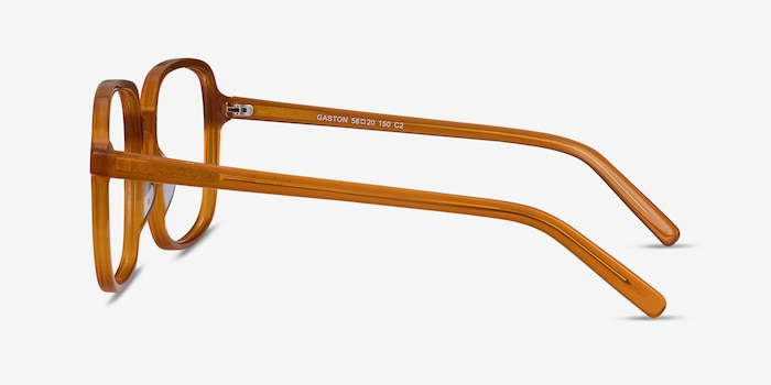 Gaston Mellow Yellow Acetate Eyeglass Frames from EyeBuyDirect, Side View