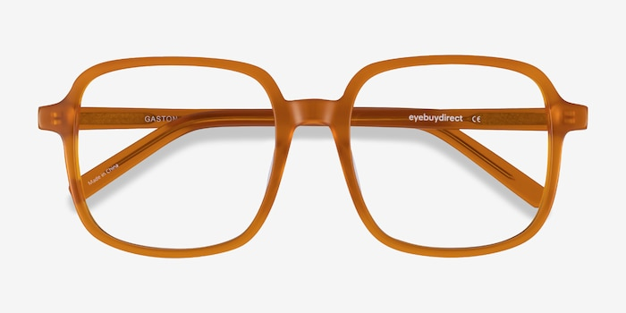 Gaston Mellow Yellow Acetate Eyeglass Frames from EyeBuyDirect, Closed View