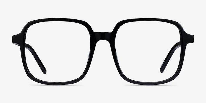 Gaston Black Acetate Eyeglass Frames from EyeBuyDirect, Front View