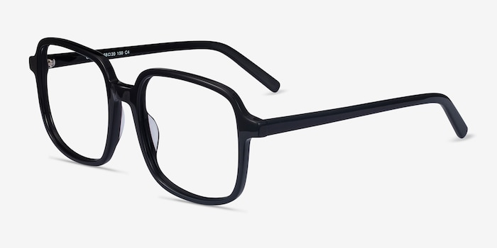 Gaston Black Acetate Eyeglass Frames from EyeBuyDirect, Angle View
