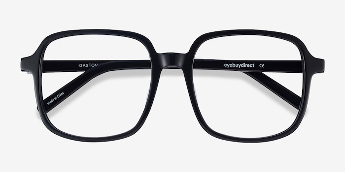 Gaston Black Acetate Eyeglass Frames from EyeBuyDirect, Closed View