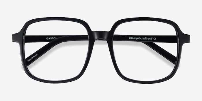 Gaston Black Acetate Eyeglass Frames from EyeBuyDirect, Closed View