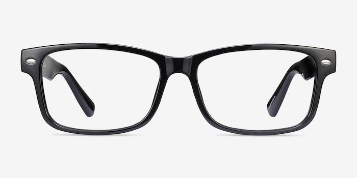 Persisto Black Plastic Eyeglass Frames from EyeBuyDirect, Front View