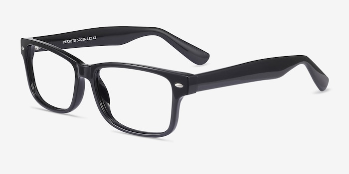Persisto Black Plastic Eyeglass Frames from EyeBuyDirect, Angle View