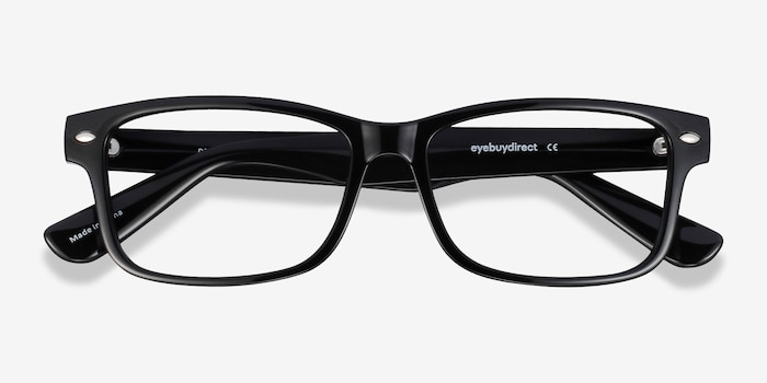 Persisto Black Plastic Eyeglass Frames from EyeBuyDirect, Closed View