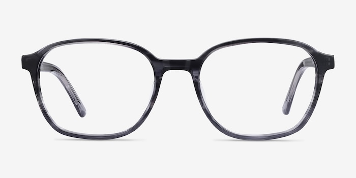 Efficient Black Striped Acetate Eyeglass Frames from EyeBuyDirect, Front View