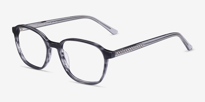Efficient Black Striped Acetate Eyeglass Frames from EyeBuyDirect, Angle View