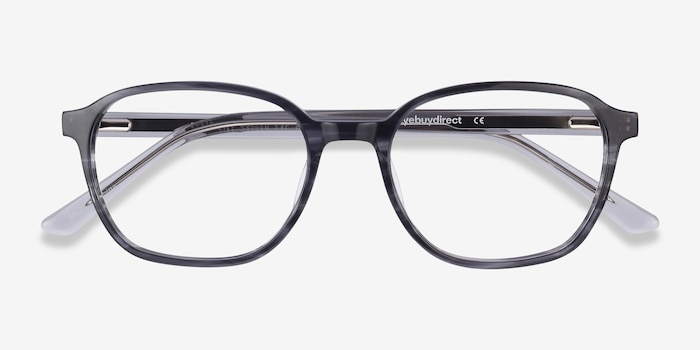 Efficient Black Striped Acetate Eyeglass Frames from EyeBuyDirect, Closed View