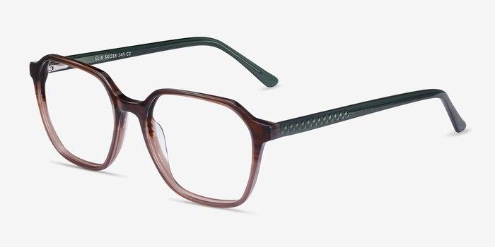 Glib Brown Striped Acétate Montures de Lunette de vue d'EyeBuyDirect, Vue d'Angle