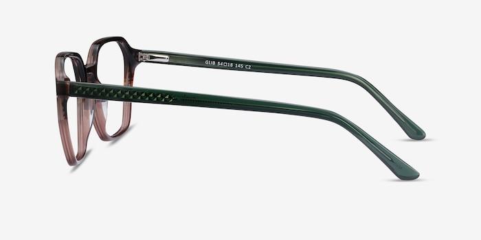 Glib Brown Striped Acétate Montures de Lunette de vue d'EyeBuyDirect, Vue de Côté