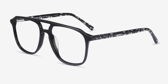 Effect Black Acetate Eyeglass Frames from EyeBuyDirect, Angle View