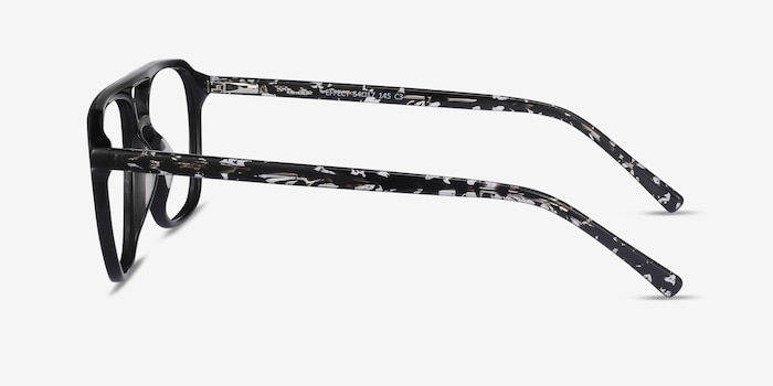 Effect Black Acetate Eyeglass Frames from EyeBuyDirect, Side View