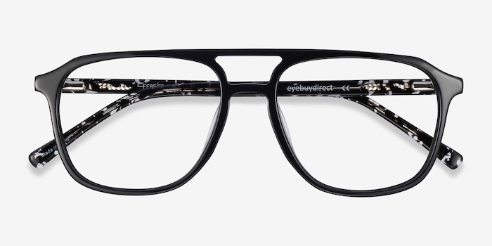 Effect Black Acetate Eyeglass Frames from EyeBuyDirect, Closed View