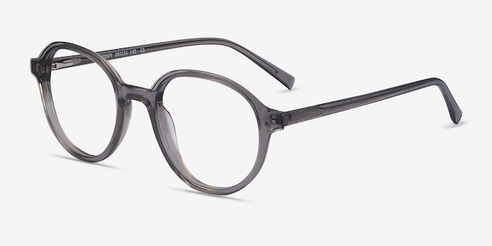 Satisfy Clear Gray Acetate Eyeglass Frames from EyeBuyDirect, Angle View