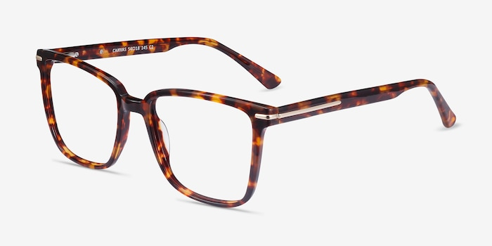 Canvas Tortoise Acetate Eyeglass Frames from EyeBuyDirect, Angle View