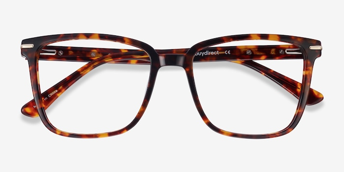 Canvas Tortoise Acetate Eyeglass Frames from EyeBuyDirect, Closed View