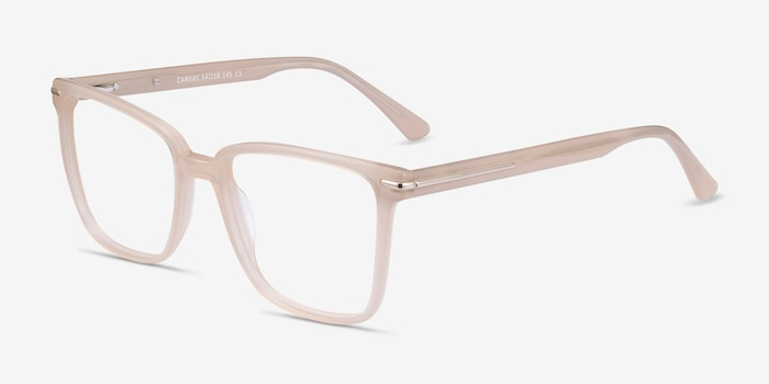 Canvas Beige Acetate Eyeglass Frames from EyeBuyDirect, Angle View