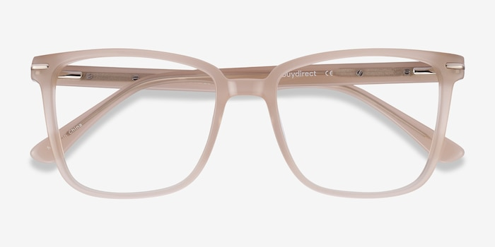 Canvas Beige Acetate Eyeglass Frames from EyeBuyDirect, Closed View