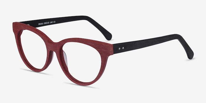 Paula Berry Red Acetate Eyeglass Frames from EyeBuyDirect, Angle View