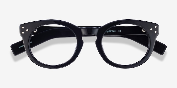 Morla Black Acetate Eyeglass Frames from EyeBuyDirect, Closed View
