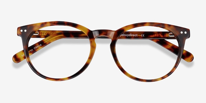 Morning Tortoise Acetate Eyeglass Frames from EyeBuyDirect, Closed View