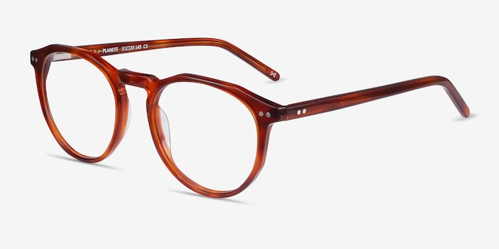 Planete Tortoise Acetate Eyeglass Frames from EyeBuyDirect, Angle View