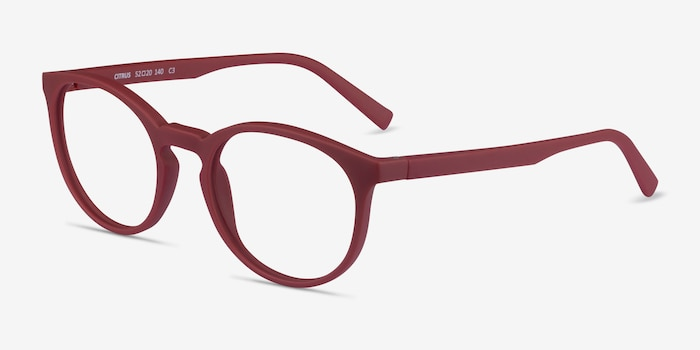 Citrus Crimson Plastic Eyeglass Frames from EyeBuyDirect, Angle View