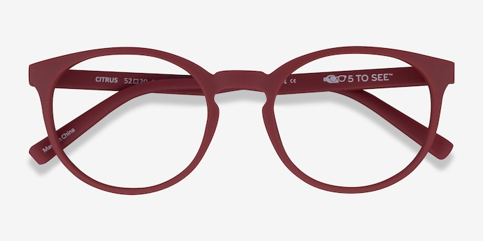 Citrus Crimson Plastic Eyeglass Frames from EyeBuyDirect, Closed View