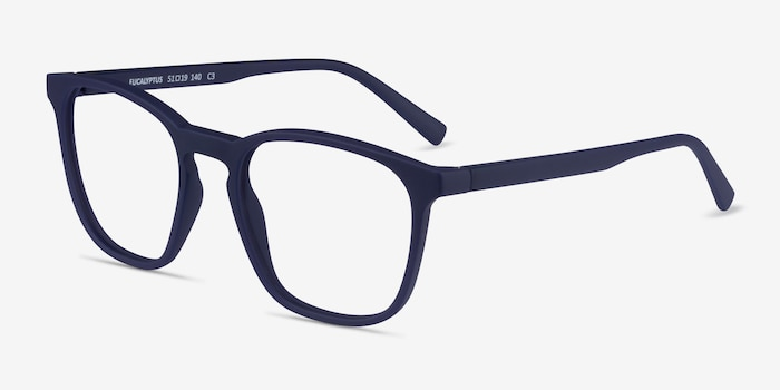 Eucalyptus Abyssal Blue Plastic Eyeglass Frames from EyeBuyDirect, Angle View