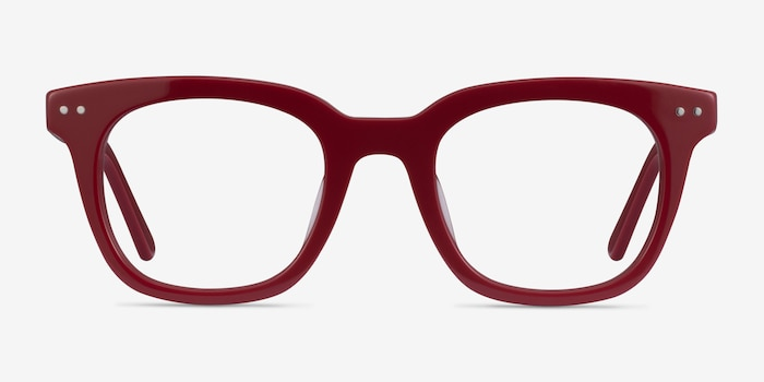Romy Burgundy Acetate Eyeglass Frames from EyeBuyDirect, Front View