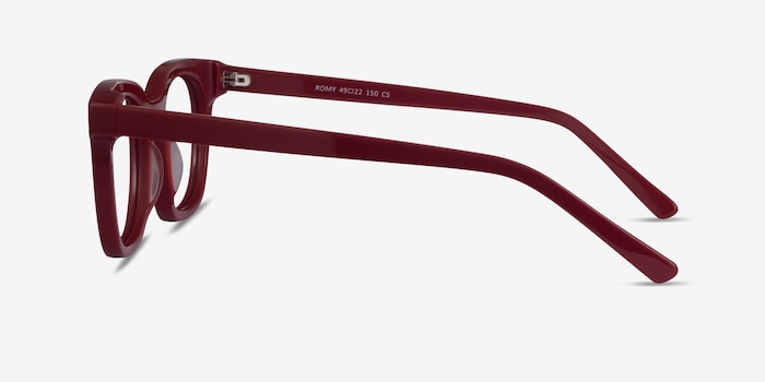 Romy Burgundy Acetate Eyeglass Frames from EyeBuyDirect, Side View