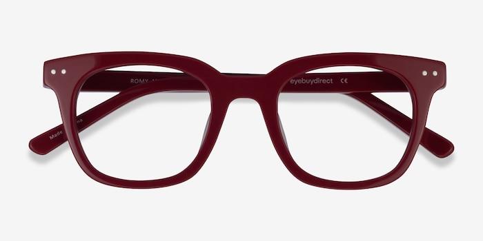 Romy Burgundy Acetate Eyeglass Frames from EyeBuyDirect, Closed View