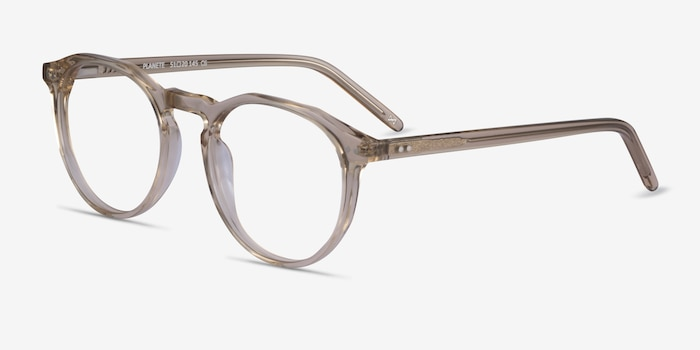 Planete Champagne Acetate Eyeglass Frames from EyeBuyDirect, Angle View