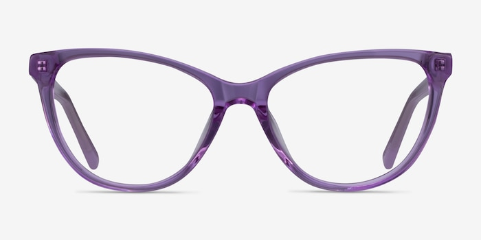Sing Clear Purple Acetate Eyeglass Frames from EyeBuyDirect, Front View