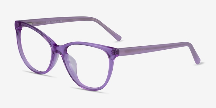 Sing Clear Purple Acetate Eyeglass Frames from EyeBuyDirect, Angle View