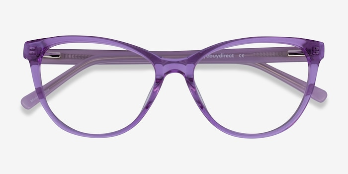 Sing Clear Purple Acetate Eyeglass Frames from EyeBuyDirect, Closed View